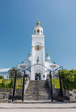 Church tower with white walls in Chebarkul city stock images