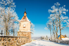 Church tower in winter Stock Image