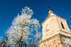 Church tower in winter Royalty Free Stock Image