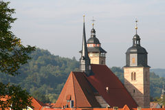 Church Towers. Historic church. Picture taken in Schmalkalden, Thuringia Royalty Free Stock Images