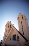 Church towers. Wide angle view of church towers with deep blue sky royalty free stock photos