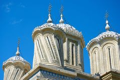 Church Towers. Orthodox church towers in Curtea de Arges, Romania Stock Image