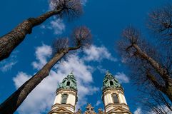 Church towers Krzeszow, Poland royalty free stock photos