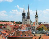 Church towers an roofs in Zagreb. From a high point in Zagreb, you can see this view Royalty Free Stock Images