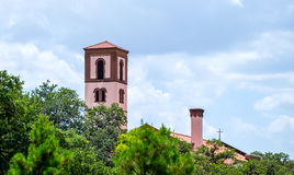 Church Towers. With trees in foreground and cloudy sky Royalty Free Stock Photo