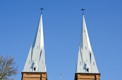 Church towers twins background blue sky religion Stock Images