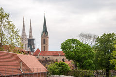 Church towers view of the cathedral and church of st. Francis of. ZAGREB, CROATIA - April 12, 2014 - Church towers view of the cathedral and church of st Stock Images