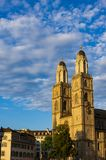 Church towers in Zurich stock photo