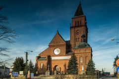 Church of the Most Holy Trinity in Bogdanowo, Poland. Church in the town of Bogdaná illuminated by the autumn sun, Poland Royalty Free Stock Photo