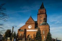 Church of the Most Holy Trinity in Bogdanowo, Poland. Church in the town of Bogdaná illuminated by the autumn sun, Poland Stock Photos