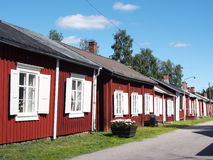 Church town cottages. Churchtown in the north of Sweden were church visitors stayed if they had a long way to church Royalty Free Stock Photos