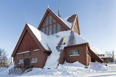 Church in the town of Kiruna, Sweden Royalty Free Stock Photo