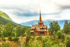 Church in the town Lom. Old wooden church in the Norwegian town Lom Stock Images