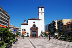 Church in town square, Fuengirola. Stock Image