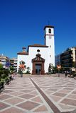 Church in town square, Fuengirola. Royalty Free Stock Photography
