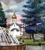 Church in town. Watercolor. Stock Image