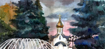 Church in town. Watercolor. Royalty Free Stock Images