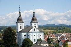 Church in the town Zamberk,  Czech republic. Baroque church of St. Wenceslas in the town Zamberk , Eastern Bohemia, Czech republic Stock Images
