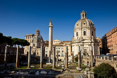 Church in the traiano forum Rome Stock Photo