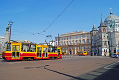 Church and tram in Lodz, Poland Stock Images