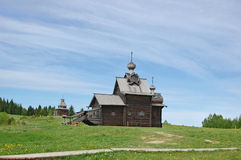 CHURCH of TRANSFIGURATION. 1707. Architecturally-ethnographic museum. Khokhlovka. The church is cut down without use of nails (nails fastened only lemekh Royalty Free Stock Photo