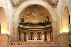 Church of the Transfiguration Fresco. Jesus Christ fresco in the Church of the Transfiguration, Tabor Mount, Israel Royalty Free Stock Photo