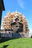 Church of the Transfiguration in Kizhi Museum-reserve for restoration. Church of the Transfiguration in Kizhi Museum-reserve in Karelia Russia royalty free stock image