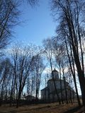 Church and trees beautiful landscape Stock Photos