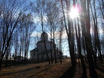 Church and trees beautiful landscape Royalty Free Stock Image