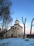 Church and trees beautiful landscape Stock Photo