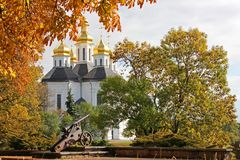 Church in the trees. Church. Old Church in Chernigov. Golden dome. History. Old City stock images
