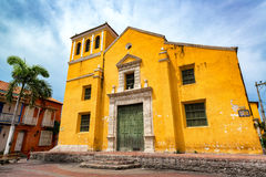 Church in Trinidad Plaza. In the neighborhood of Getsemani in Cartagena, Colombia Stock Images