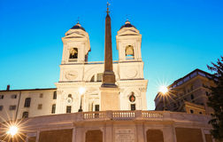 The church of Trinita dei Monti at night, Rome, Italy. Stock Photography