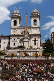 """Church """"Trinita dei Monti"""" in Rome. Behind the famous steps of Piazza di Spagna - italy Stock Photos"""