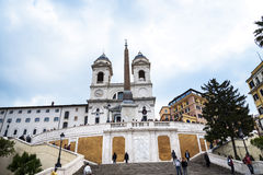 The church of Trinite dei Monti at the top of the Spanish Steps with its Egyptian obelisk in Rome Italy. Rome Italy, the Eternal city, which has been a Stock Image