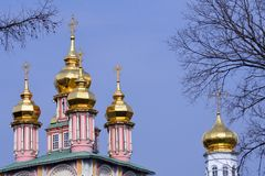 Church of the Trinity Sergius Lavra. Sergiyev Posad, Russia. Popular landmark. UNESCO World Heritage Site royalty free stock photography