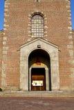 church  in  the turbigo  old   closed brick tower sidewalk  lom Royalty Free Stock Images