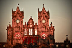 Church turn red in sunset in Hellfest, heavy metal festival. Hellfest, also called Hellfest Summer Open Air, is a French rock festival focusing on heavy metal stock image