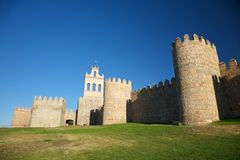 Church between turrets. View of Avila city at Castilla in Spain Stock Images