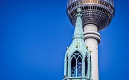 Church and TV tower in Berlin Royalty Free Stock Photography