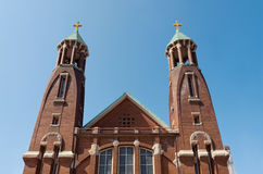 Church Twin Bell Towers and Facade Royalty Free Stock Photos