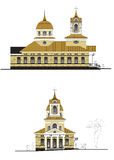 Church in two projections. Model of the modern church in two projections Royalty Free Stock Photos