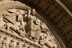 Church tympanum, Arles, Bouche-du-Rhône, France. Royalty Free Stock Images