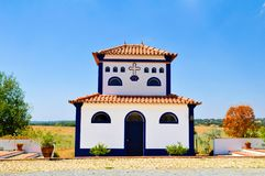 Church from Typical Country Estate, Alentejo White House, Travel Portugal Stock Photo