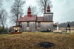 Church in Tyrawa Solna. This is a very old wooden church in Tyrawa Solna stock photo