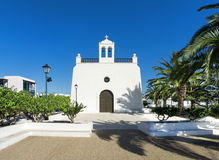 Church in Uga  on Lanzarote. Front view of the church Iglesia San Isidro Labrador in Uga, Lanzarote, Canary Islands, Spain Royalty Free Stock Image
