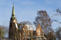 Church in Umeå, Sweden. In early winter Stock Images
