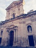 Church under the sky. Church unde under sky architecture eligion subject blue vintage urban saint lucia carlentini sicily italy europe travel ourist stock images