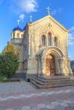 Church under the blue sky. Monastery in village Chitcani from Moldova Royalty Free Stock Photos