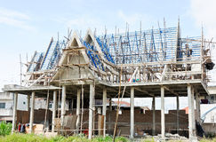 Church is under construction. Traditional Thai church is under construction in the temple Royalty Free Stock Images